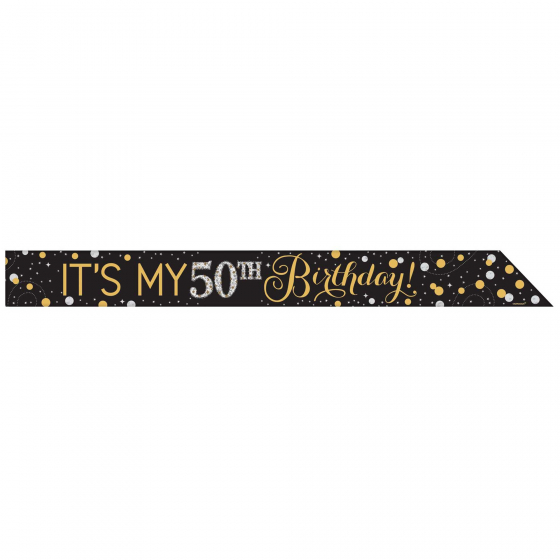 ADD ANY AGE FOIL SASH IN SPARKLING GOLD & BLACK