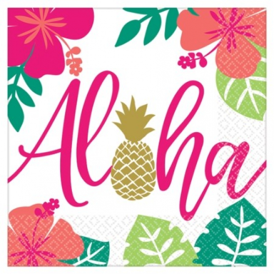 ALOHA SUMMER LUNCH NAPKINS - PACK OF 16