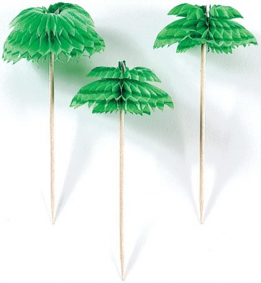 PALM TREE PARASOL PICKS - PACK OF 12
