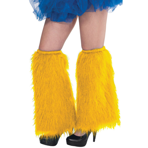 1980'S PLUSH & FLUFFY YELLOW LEG WARMERS