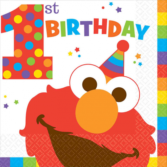 ELMO SESAME STREET 1ST BIRTHDAY LUNCH NAPKINS - PACK OF 16