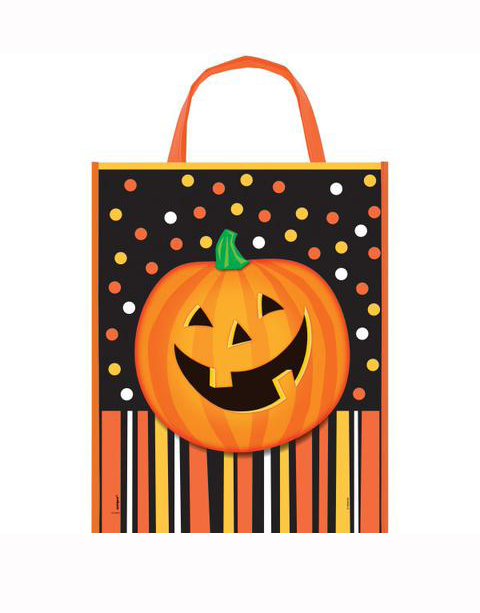HALLOWEEN TRICK OR TREAT BAG WITH SMILING PUMPKIN & STRIPES