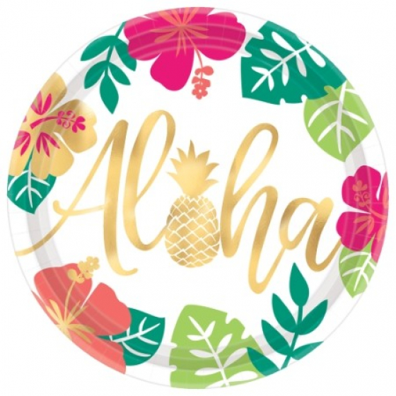 ALOHA SUMMER DINNER PLATES - PACK OF 8