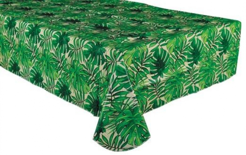 TABLECOVER - ISLAND PALMS - FLANNEL BACKED