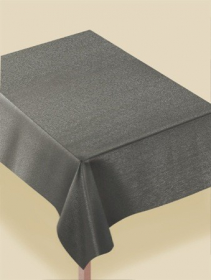 MATERIAL LUXURY TABLECOVER - RECTANGULAR METALLIC SILVER