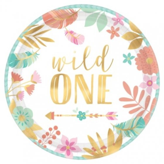 BOHO CHIC 'WILD ONE' LUNCH PLATES - PACK OF 8
