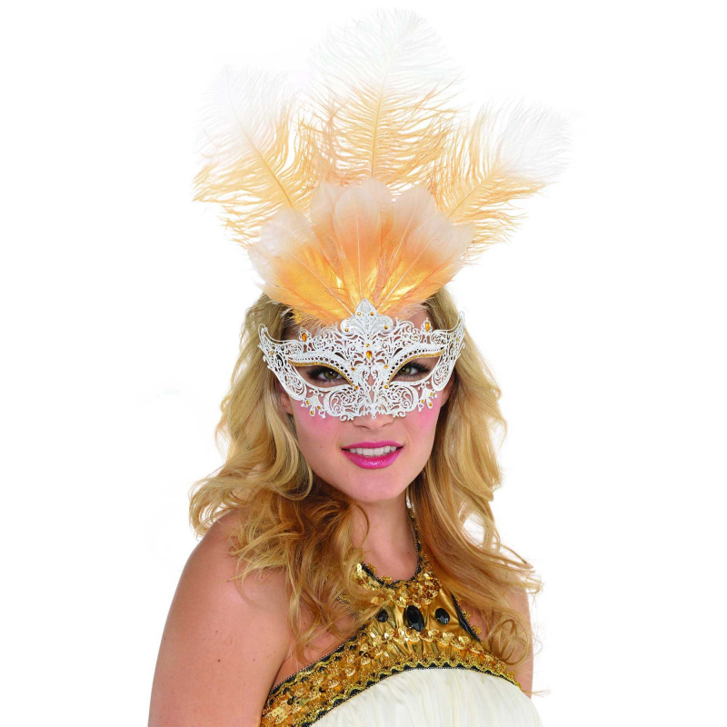 MASK - GOLD FEATHER & WHITE FILIGREE VENETIAN STYLE