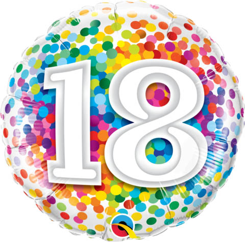 FOIL BALLOON - 18TH BIRTHDAY RAINBOW CONFETTI