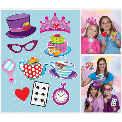 SELFIE PHOTO BOOTH PROPS - MAD HATTERS TEA PARTY PACK OF 10