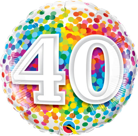 FOIL BALLOON - 40TH BIRTHDAY RAINBOW CONFETTI