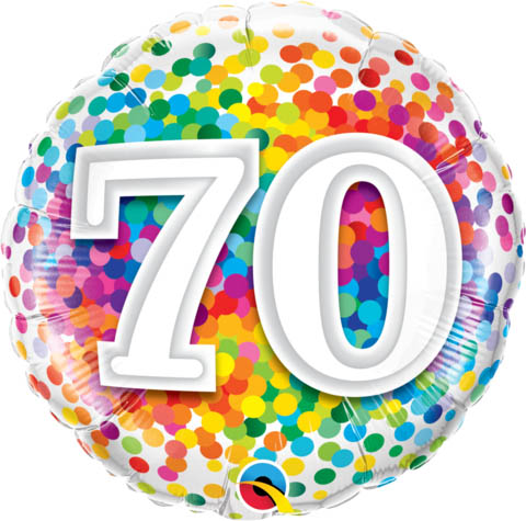 FOIL BALLOON - 70TH BIRTHDAY RAINBOW CONFETTI