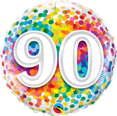FOIL BALLOON - 90TH BIRTHDAY RAINBOW CONFETTI