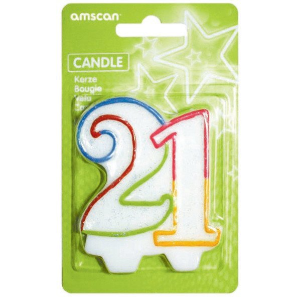 21ST BIRTHDAY CANDLE - MULTI GLITTERED