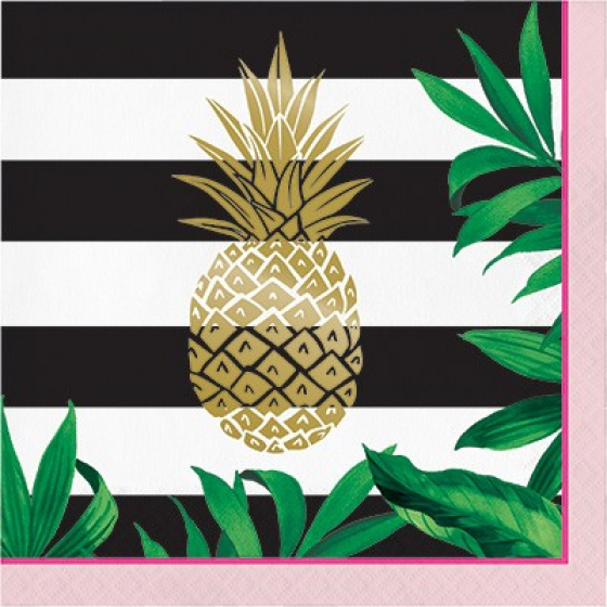 HAWAIIAN GOLDEN PINEAPPLE LUNCH NAPKINS - PACK OF 16
