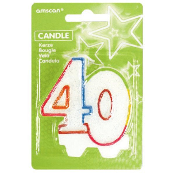 40TH BIRTHDAY CANDLE - MULTI GLITTERED