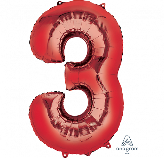 FOIL BALLOON SUPER SHAPE - NUMBER 3 RED