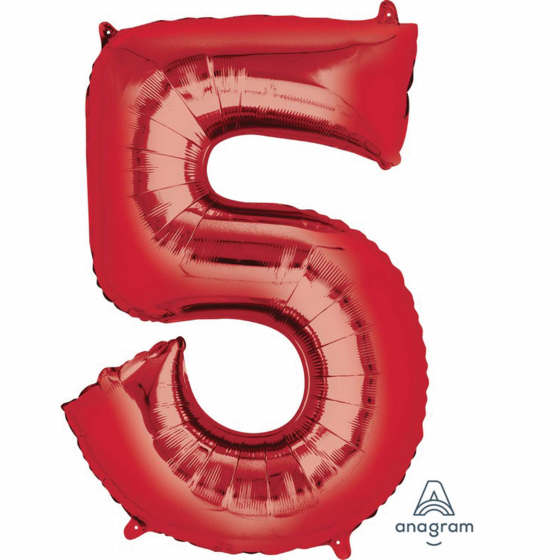 FOIL BALLOON SUPER SHAPE - NUMBER 5 RED