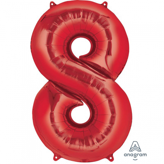 FOIL BALLOON SUPER SHAPE - NUMBER 8 RED