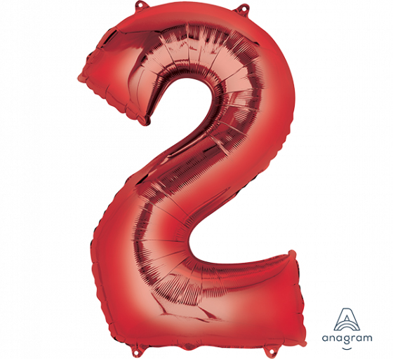 FOIL BALLOON SUPER SHAPE - NUMBER 2 RED