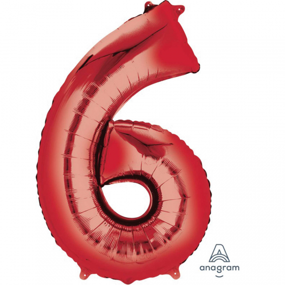 FOIL BALLOON SUPER SHAPE - NUMBER 6 RED