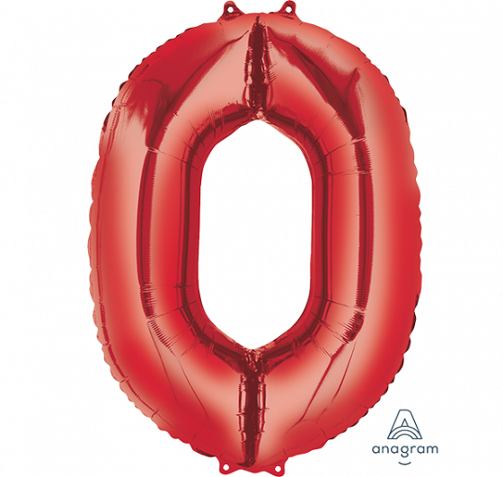 FOIL BALLOON SUPER SHAPE - NUMBER 0 RED