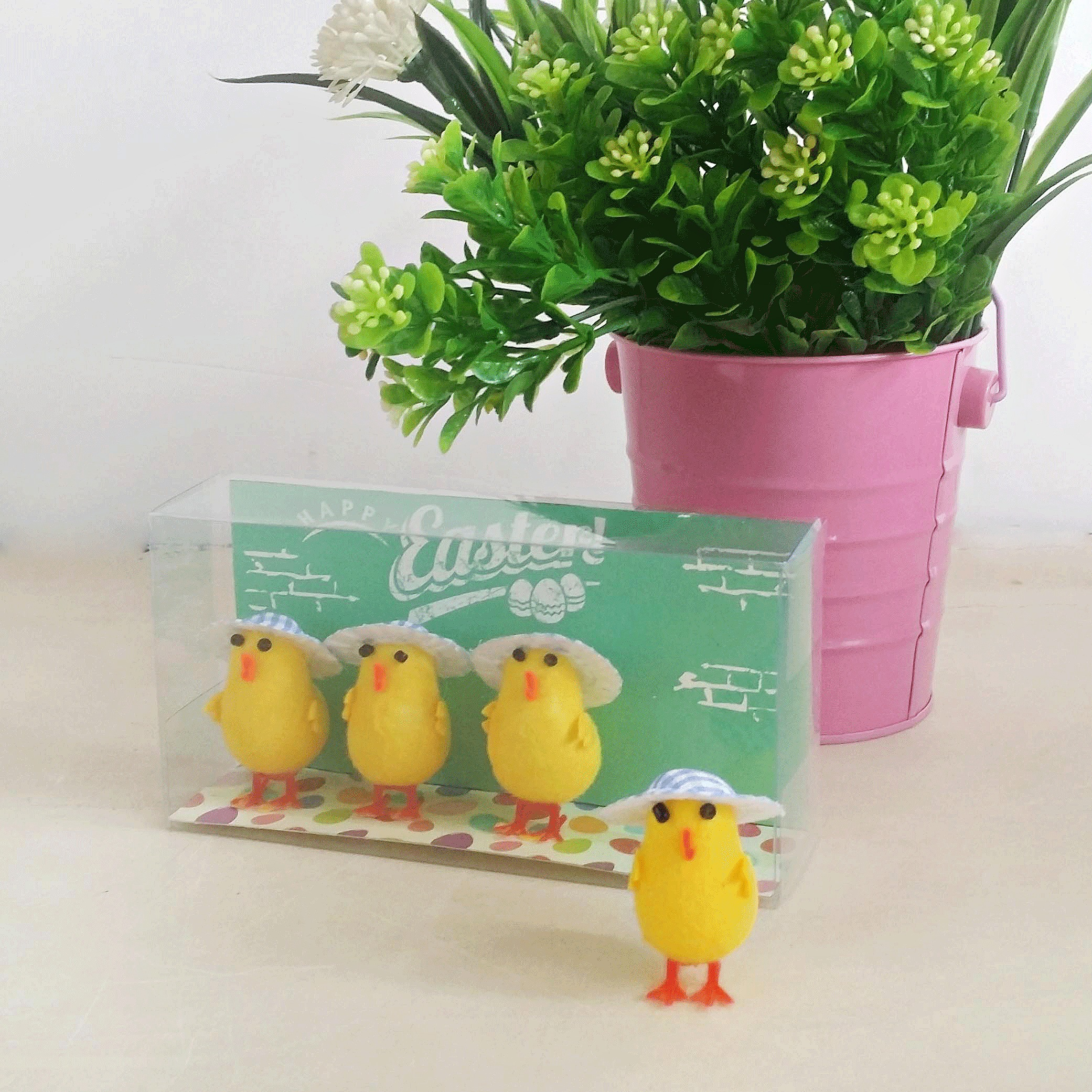 EASTER CHICKS WITH BLUE CHECK HAT - PACK OF 4