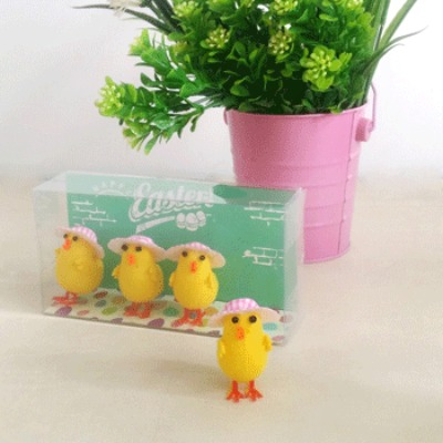 EASTER CHICKS WITH PINK CHECK HAT - PACK OF 4