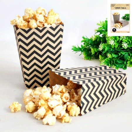 NATURAL KRAFT CHEVRON POPCORN TREAT BOXES - PACK OF 4