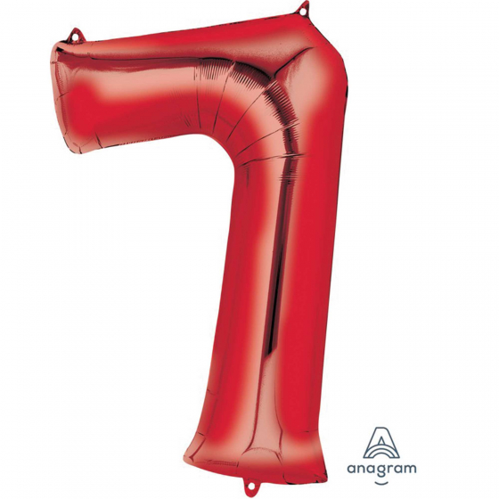 FOIL BALLOON SUPER SHAPE - NUMBER 7 RED