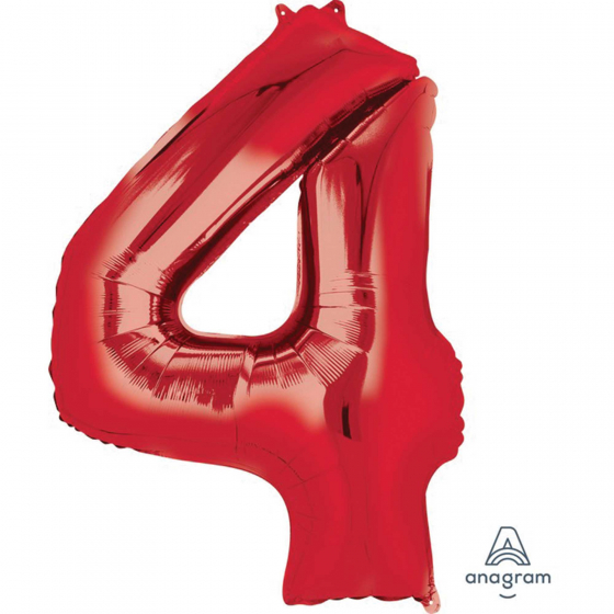 FOIL BALLOON SUPER SHAPE - NUMBER 4 RED