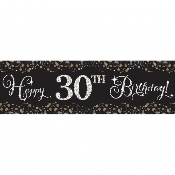 GIANT BANNER - HAPPY BIRTHDAY SPARKLING BLACK & GOLD PERSONALISE
