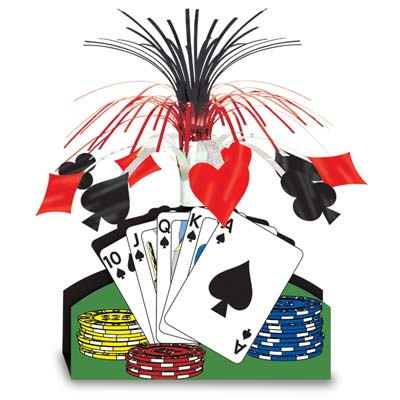 CASINO CENTREPIECE CASCADE - POKER CHIPS & CARDS