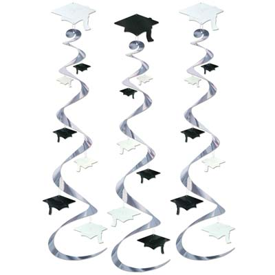 GRADUATION CAP HANGING FOIL WHIRLS