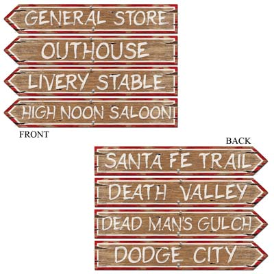 WESTERN STREET SIGN CUT OUTS - PACK OF 4