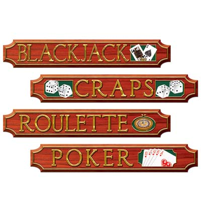 CASINO GAME ROOM STREET SIGNS