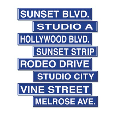 Image of Hollywood Street Signs  Pack Of 4