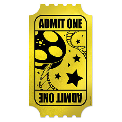 Image of Admit One Gold Movie Ticket Cut Out