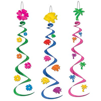 LUAU PARTY WHIRLS PACK OF 3