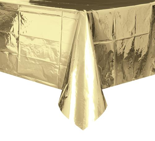 DISPOSABLE TABLECOVER - RECTANGULAR METALLIC GOLD