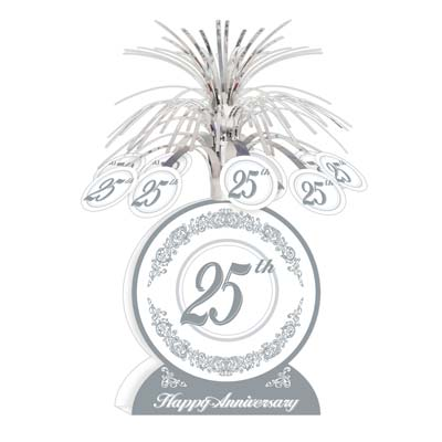 25TH WEDDING ANNIVERSARY SILVER CENTREPIECE