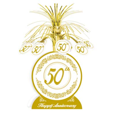 50TH WEDDING ANNIVERSARY GOLD CENTREPIECE