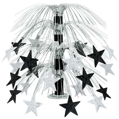 CENTREPIECE - BLACK & SILVER CASCADE STAR TABLE