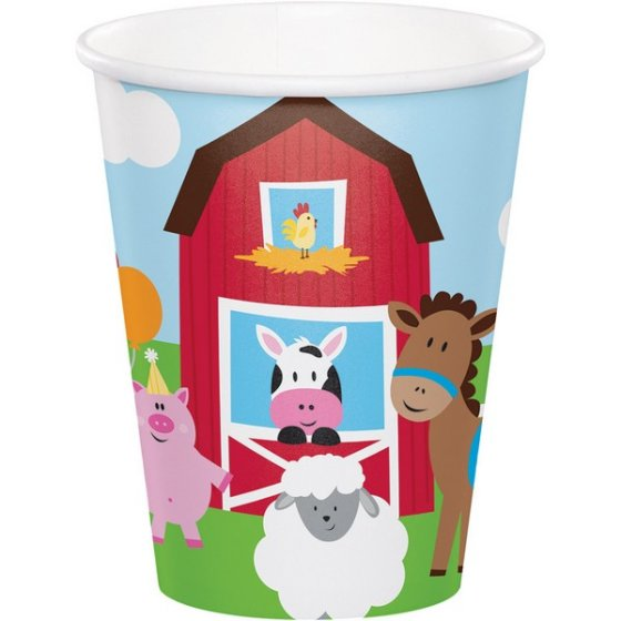 FARMHOUSE DESIGN 1ST BIRTHDAY CUPS - PACK OF 8