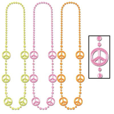 PLASTIC PEACE SIGN NECKLACE