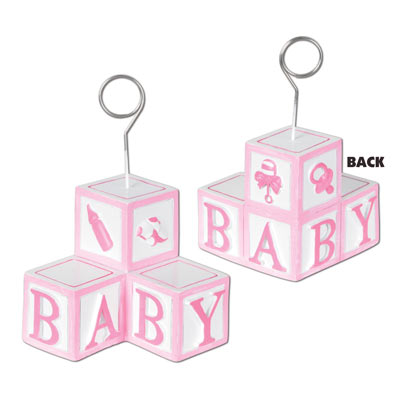 BALLOON WEIGHT - GIRL PINK BABY BLOCKS