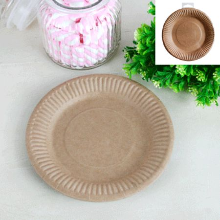 NATURAL ECO PAPER LUNCHEON PLATES - PACK 12