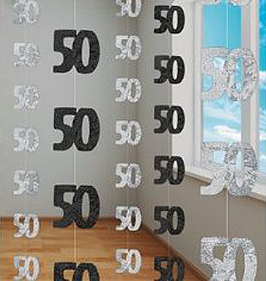 GLITZ SILVER & BLACK 50TH BIRTHDAY/ANNIVERSARY STRING DECORATION