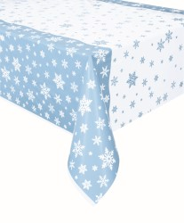 DISPOSABLE TABLECOVER - BLUE SNOWFLAKES