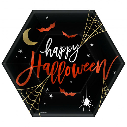 HAPPY HALLOWEEN HEXAGON SHAPED DINNER PLATES - PACK OF 8