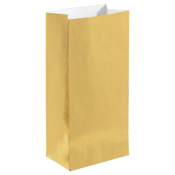 PARTY FAVOUR BAGS - GOLD FOIL SMALL - PACK OF 12